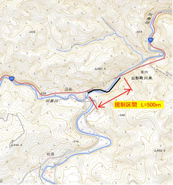 市道沼袋線交通規制位置図
