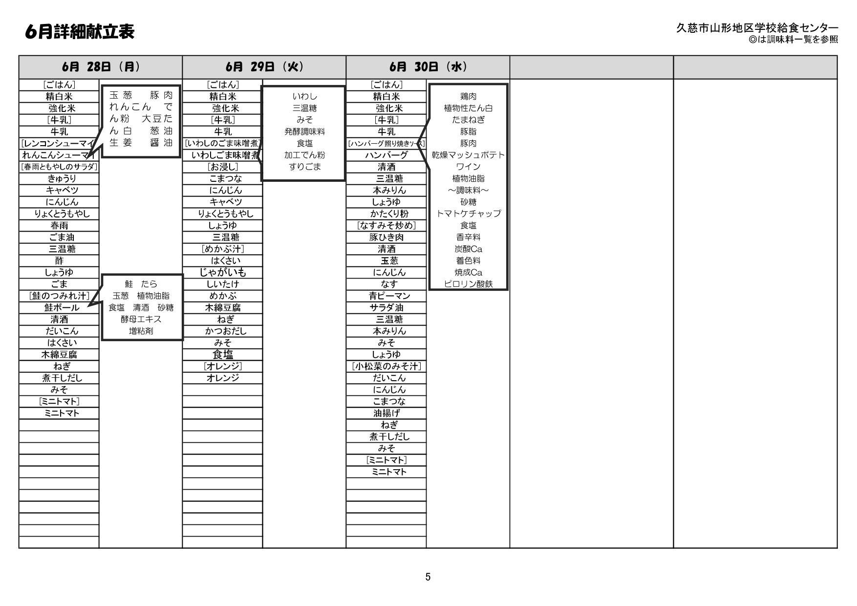 山形地区給食詳細献立表(令和3年6月)5