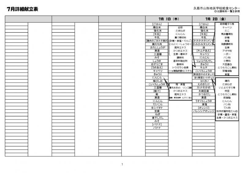 山形地区給食詳細献立表(令和3年7月)1