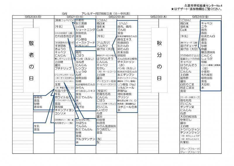 久慈地区給食詳細献立表(令和3年9月)4