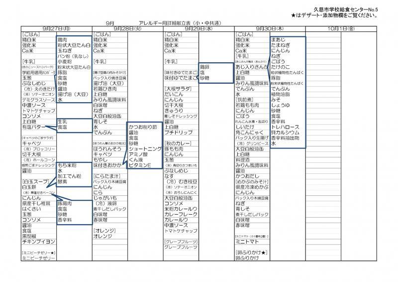 久慈地区給食詳細献立表(令和3年9月)5