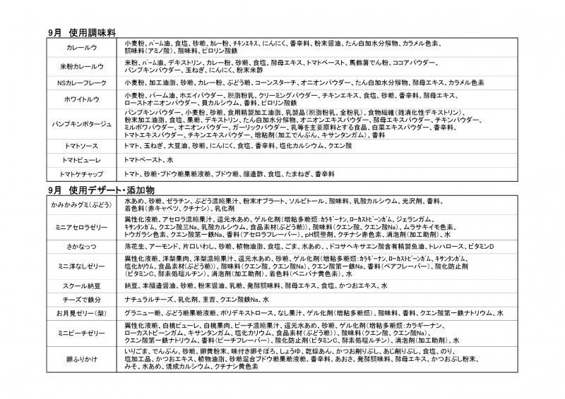 久慈地区給食使用調味料(令和3年9月)2