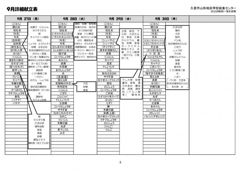 山形地区給食詳細献立表(令和3年9月)5