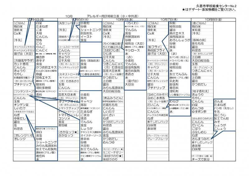 久慈地区給食詳細献立表(令和3年10月)2