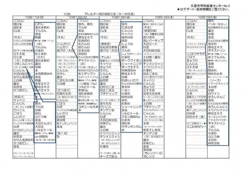久慈地区給食詳細献立表(令和3年10月)3