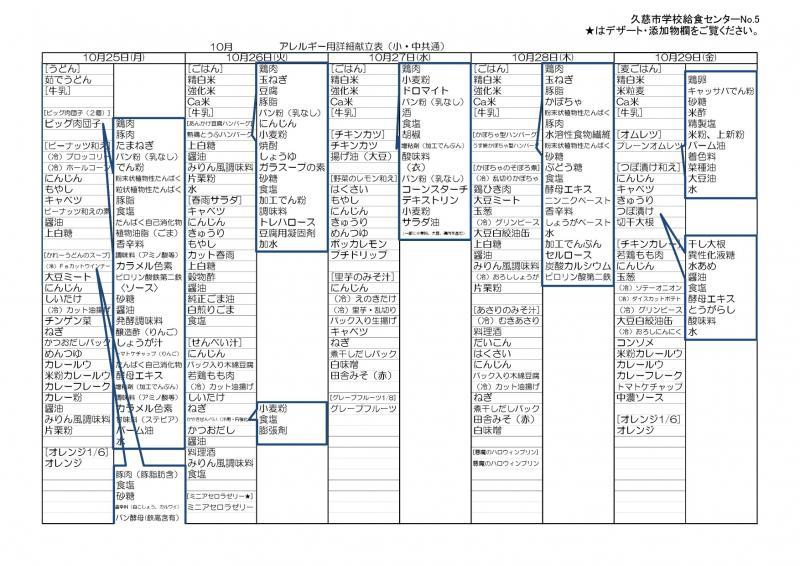久慈地区給食詳細献立表(令和3年10月)5