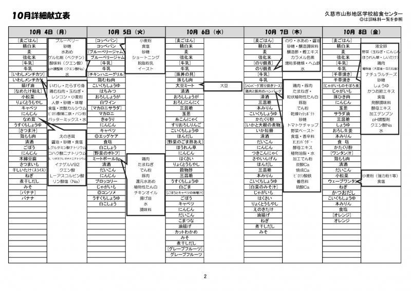 山形地区給食詳細献立表(令和3年10月)2