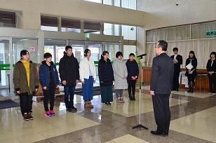 画像:中高生海外派遣団出発式